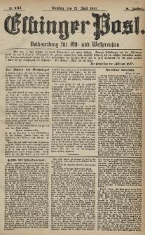 Elbinger Post, Nr. 141, Dienstag 21 Juni 1881, 8 Jahrg.