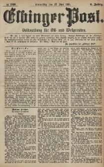 Elbinger Post, Nr. 143, Donnerstag 23 Juni 1881, 8 Jahrg.