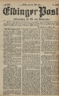 Elbinger Post, Nr. 144, Freitag 24 Juni 1881, 8 Jahrg.