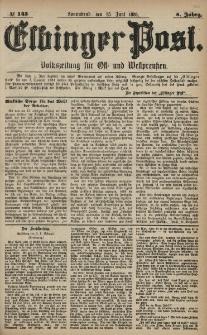 Elbinger Post, Nr. 145, Sonnabend 25 Juni 1881, 8 Jahrg.