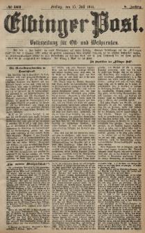 Elbinger Post, Nr. 162, Freitag 15 Juli 1881, 8 Jahrg.