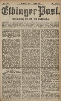 Elbinger Post, Nr. 178, Mittwoch 3 August 1881, 8 Jahrg.