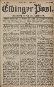Elbinger Post, Nr. 180, Freitag 5 August 1881, 8 Jahrg.