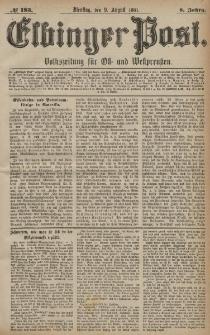 Elbinger Post, Nr. 183, Dienstag 9 August 1881, 8 Jahrg.