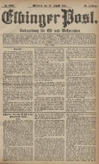 Elbinger Post, Nr. 184, Mittwoch 10 August 1881, 8 Jahrg.