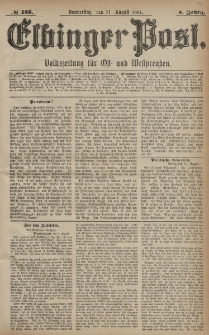 Elbinger Post, Nr. 185, Donnerstag 11 August 1881, 8 Jahrg.