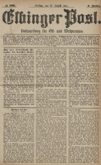 Elbinger Post, Nr. 186, Freitag 12 August 1881, 8 Jahrg.