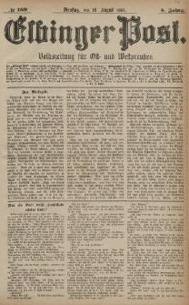 Elbinger Post, Nr. 189, Dienstag 16 August 1881, 8 Jahrg.