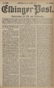 Elbinger Post, Nr. 190, Mittwoch 17 August 1881, 8 Jahrg.