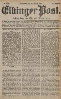 Elbinger Post, Nr. 191, Donnerstag 18 August 1881, 8 Jahrg.