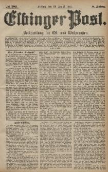 Elbinger Post, Nr. 192, Freitag 19 August 1881, 8 Jahrg.