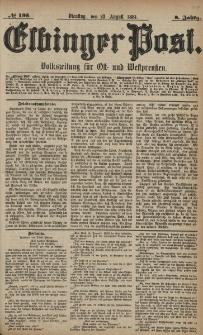 Elbinger Post, Nr. 195, Dienstag 23 August 1881, 8 Jahrg.