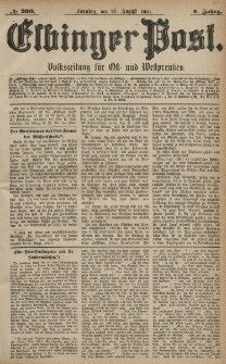 Elbinger Post, Nr. 200, Sonntag 28 August 1881, 8 Jahrg.