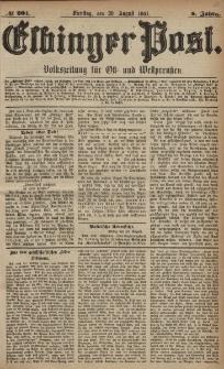Elbinger Post, Nr. 201, Dienstag 30 August 1881, 8 Jahrg.