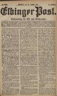 Elbinger Post, Nr. 202, Mittwoch 31 August 1881, 8 Jahrg.