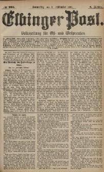 Elbinger Post, Nr. 203, Donnerstag 1 September 1881, 8 Jahrg.