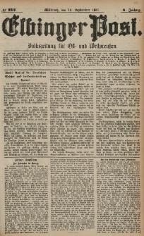 Elbinger Post, Nr. 214, Mittwoch 14 September 1881, 8 Jahrg.