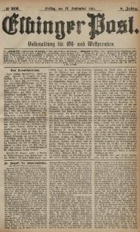 Elbinger Post, Nr. 216, Freitag 16 September 1881, 8 Jahrg.