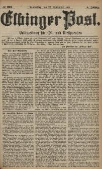 Elbinger Post, Nr. 221, Donnerstag 22 September 1881, 8 Jahrg.