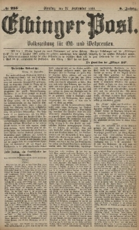 Elbinger Post, Nr. 225, Dienstag 27 September 1881, 8 Jahrg.