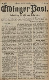 Elbinger Post, Nr. 226, Mittwoch 28 September 1881, 8 Jahrg.