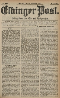 Elbinger Post, Nr. 230, Sonntag 2 Oktober 1881, 8 Jahrg.