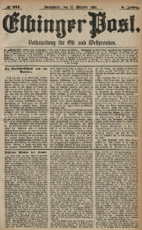 Elbinger Post, Nr. 241, Sonnabend 15 Oktober 1881, 8 Jahrg.