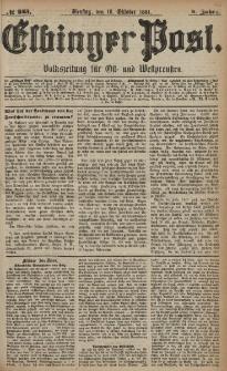 Elbinger Post, Nr. 243, Dienstag 18 Oktober 1881, 8 Jahrg.