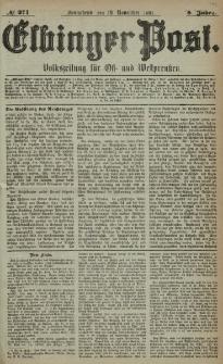 Elbinger Post, Nr. 271, Sonnabend 19 November 1881, 8 Jahrg.
