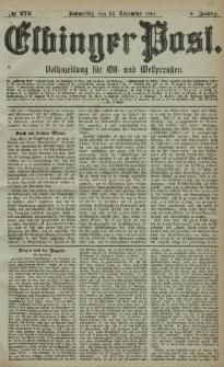 Elbinger Post, Nr. 275, Donnerstag 24 November 1881, 8 Jahrg.