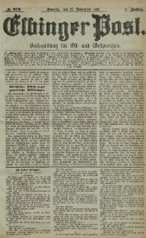 Elbinger Post, Nr. 278, Sonntag 27 November 1881, 8 Jahrg.