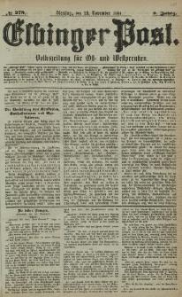 Elbinger Post, Nr. 279, Dienstag 29 November 1881, 8 Jahrg.