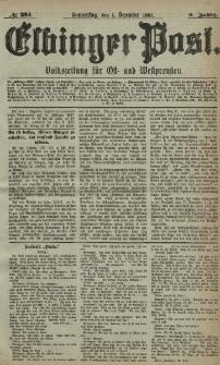 Elbinger Post, Nr. 281, Donnerstag 1 Dezember 1881, 8 Jahrg.