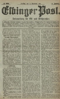 Elbinger Post, Nr. 282, Freitag 2 Dezember 1881, 8 Jahrg.
