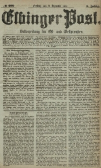 Elbinger Post, Nr. 288, Freitag 9 Dezember 1881, 8 Jahrg.