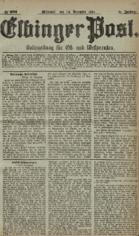 Elbinger Post, Nr. 292, Mittwoch 14 Dezember 1881, 8 Jahrg.