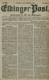 Elbinger Post, Nr. 302, Sonntag 25 Dezember 1881, 8 Jahrg.