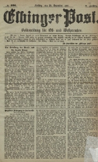 Elbinger Post, Nr. 305, Freitag 30 Dezember 1881, 8 Jahrg.