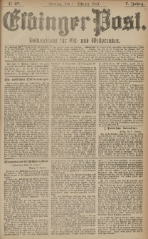 Elbinger Post, Nr. 27, Sonntag 1 Februar 1880, 7 Jahrg.
