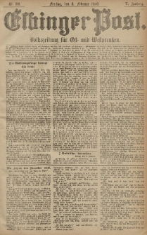 Elbinger Post, Nr. 31, Freitag 6 Februar 1880, 7 Jahrg.