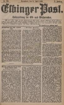 Elbinger Post, Nr. 78, Sonnabend 3 April 1880, 7 Jahrg.