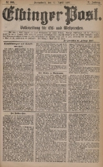 Elbinger Post, Nr. 90, Sonnabend 17 April 1880, 7 Jahrg.