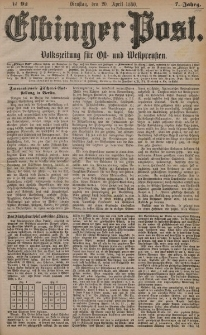 Elbinger Post, Nr. 92, Dienstag 20 April 1880, 7 Jahrg.