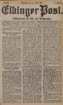 Elbinger Post, Nr. 93, Mittwoch 21 April 1880, 7 Jahrg.