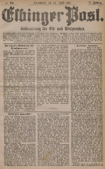 Elbinger Post, Nr. 95, Sonnabend 24 April 1880, 7 Jahrg.