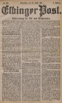 Elbinger Post, Nr. 99, Donnerstag 29 April 1880, 7 Jahrg.