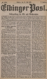 Elbinger Post, Nr. 172, Sonntag 25 Juli 1880, 7 Jahrg.
