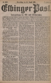 Elbinger Post, Nr. 199, Donnerstag 26 August 1880, 7 Jahrg.