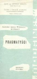 Pragmatyści - ulotka zwiastująca spektakl teatralny