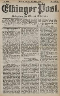 Elbinger Post, Nr. 216, Mittwoch 15 September 1880, 7 Jahrg.